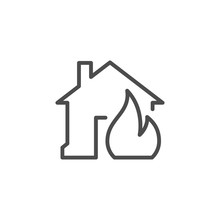 House In Fire Line Outline Icon