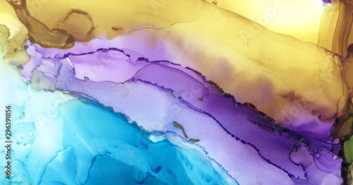 Art Abstract paint blots background. Alcohol ink colors. Marble texture. Horizontal long banner..