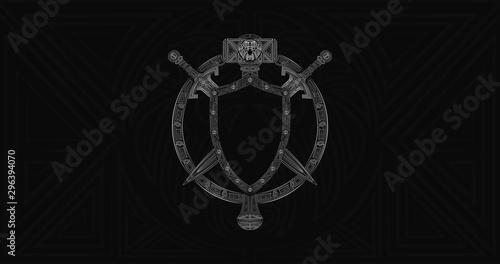 Photo  Warcraft Alliance Emblem, Warcraft Reforeged crest, World of Warcraft logo, Lordaeron symbol Royal crest for team