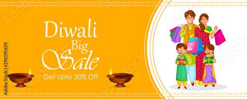 Indian Family celebrating Diwali light festival of India banner background for S Tablou Canvas