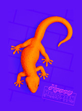 3D Rendering Illustration White Gecko Isolated On Yellow Brick Pattern Background