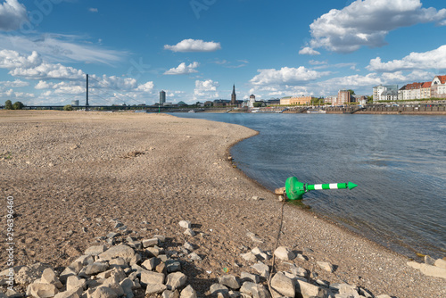 Drought in Germany, low water on Rhine river Canvas Print
