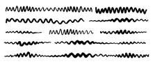 Grunge Zigzag Wavy Stripes Hand Painted With Black Ink Brush Stroke
