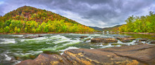 Panorama Of Sandstone Falls In West Virginia With Fall Colors.