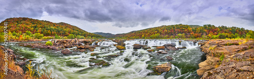 Poster Forest river Panorama of Sandstone Falls in West Virginia with fall colors.