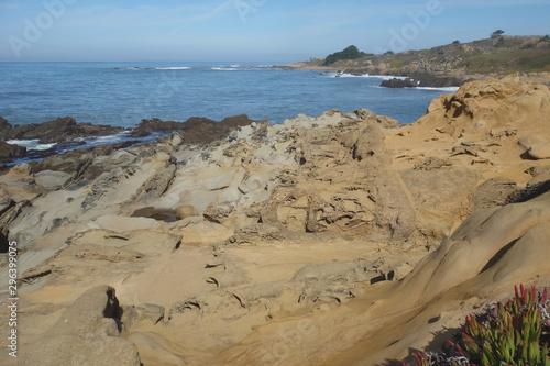 Tafoni sculptured sandstone along the Pacific ocean in California
