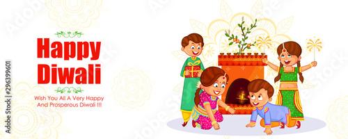 Indian kids enjoying firecracker celebrating Diwali light festival of India in v Tablou Canvas