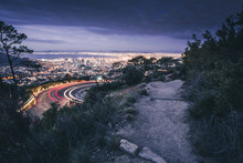 View At Road To Capetown At Night From Table Mountain