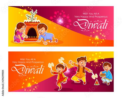 Fotografie, Tablou  Indian kids enjoying firecracker celebrating Diwali light festival of India in v