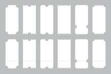Set Of Tickets Template Of Different Forms. Tickets Mockup For Cinema, Theater, Show. Big Collection Of Tickets Template