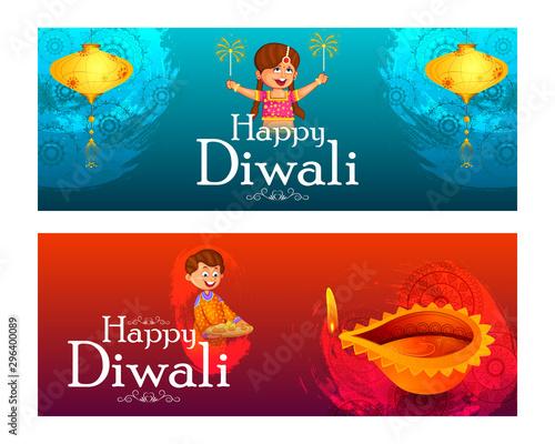 Indian kids enjoying firecracker celebrating Diwali light festival of India in v Fototapet