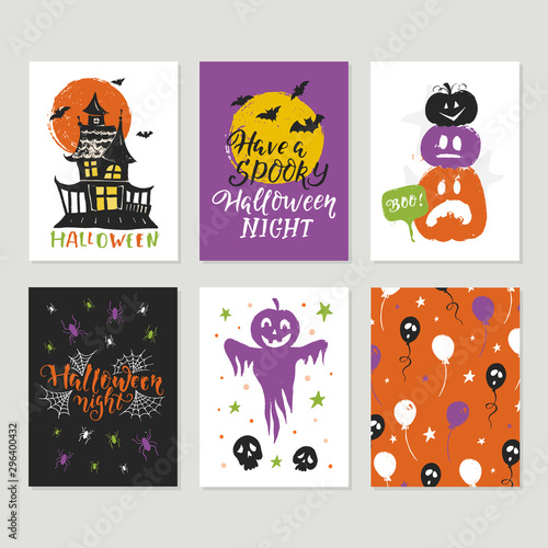 Fényképezés  Halloween big collection of vector greeting cards