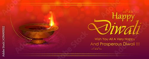 Fényképezés  Happy Diwali light festival of India greeting background in vector