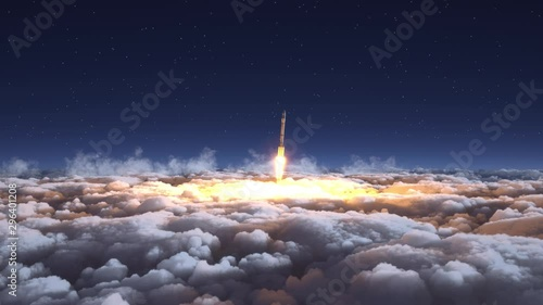 Photo Rocket flies through the clouds