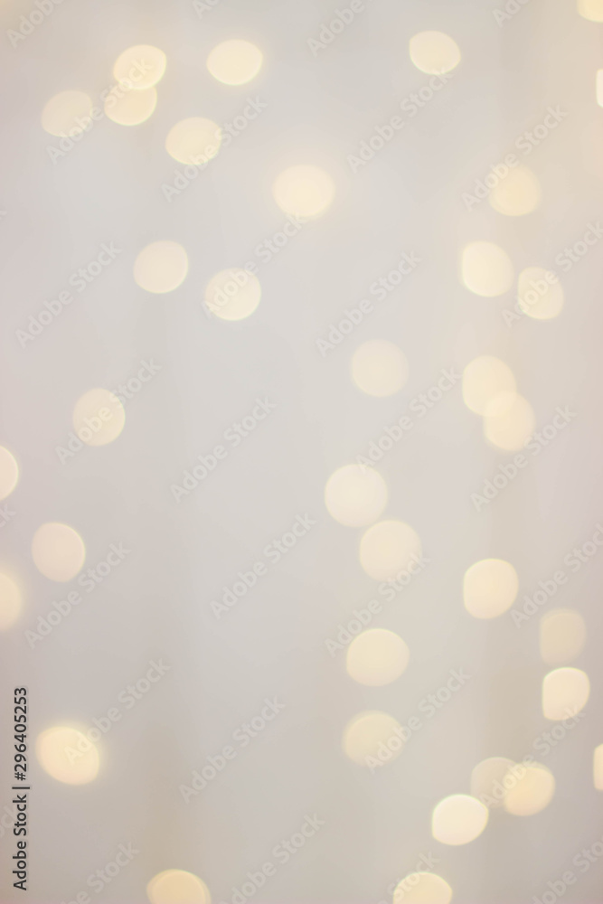 Fototapety, obrazy: Wooden background with yellow bokeh bulbs.