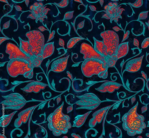 Fototapeta  Paisley watercolor floral pattern tile:  flowers, flores, tulips, leaves