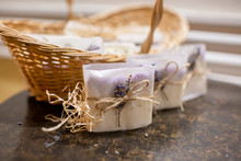 Lavender Soap And Salt In A Wi...