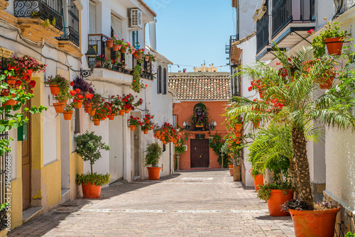 Fotobehang Bloemenwinkel The beautiful Estepona, little and flowery town in the province of Malaga, Spain.