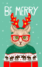 Christmas Greeting Card With Hipster Cat. Be Merry. Snowing On Green Background. Vector Holiday Illustration