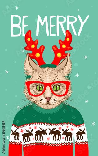 boze-narodzenie-z-zyczeniami-kota-hipstera