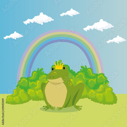 cute toad with rainbow in scene fairytale vector illustration design