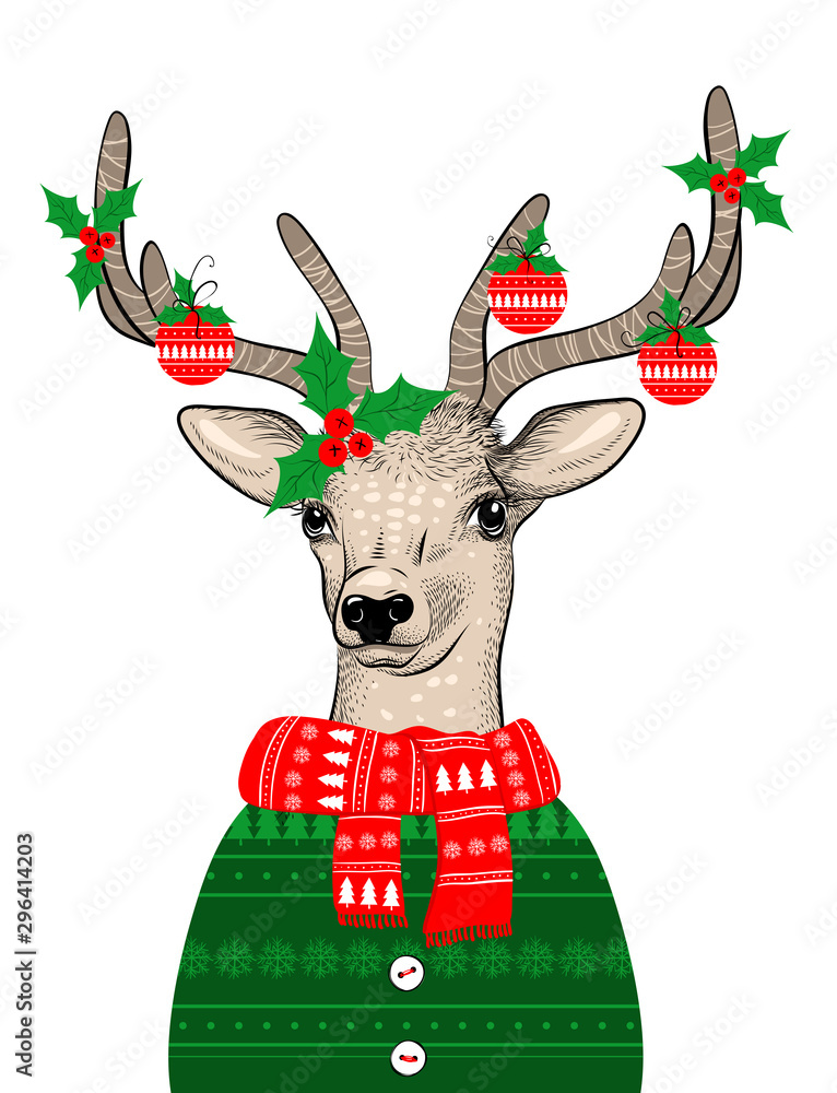 Fototapety, obrazy: Hand drawn vector illustration of Christmas deer in green sweater on white background. Hipster in glasses and hat