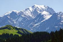 Mont Blanc Vu Depuis Le Col Des Saisies, Savoie, France