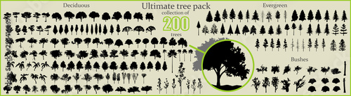 Even More Ultimate Tree collection, 200 detailed, different tree vectors