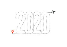 New Year Travel Icon. 2020 Fli...