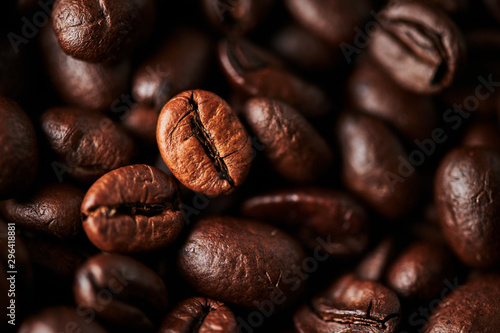 Close up of roasted coffee beans for background, texture and design Wallpaper Mural