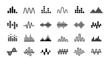 Set Of Radio Wave Icons. Monoc...