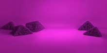 3D Rendering Of A Purple Geometric Background For Commercial Advertising. Purple Fur Balls. Purple Fluffy Hairs Cube On Purple Background