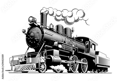 Photo Vintage steam train locomotive, engraving style vector illustration