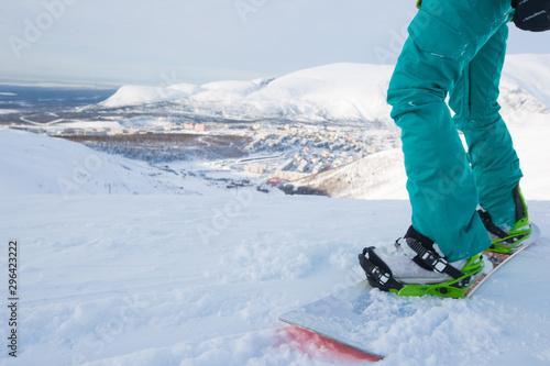 Photo sur Aluminium Glisse hiver Snowboarder in Kirovsk , Russia