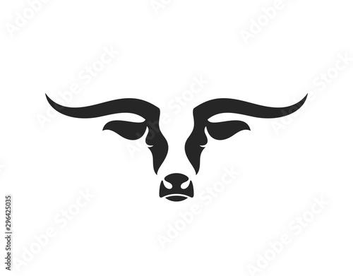 Texas longhorn bull. Logo. Isolated bull head on white background