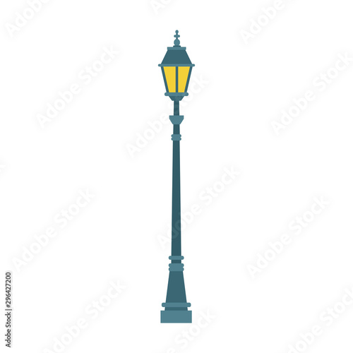 Obraz Streetlight vintage lamp icon, colorful flat design - fototapety do salonu