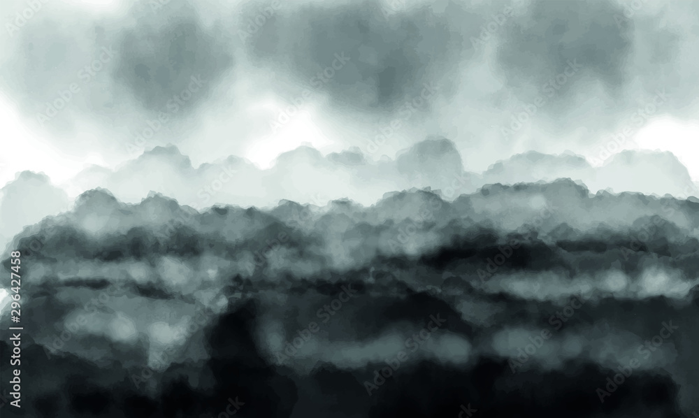 Watercolor ink paint art vector texture illustration abstract landscape with heavy clouds.. Black and white silhouette illustration in asian inspiration.