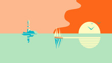 Sailboat Or Boat Floats In The Sea At Sunset. In The Distance Is An Island Or Shore With A Lighthouse