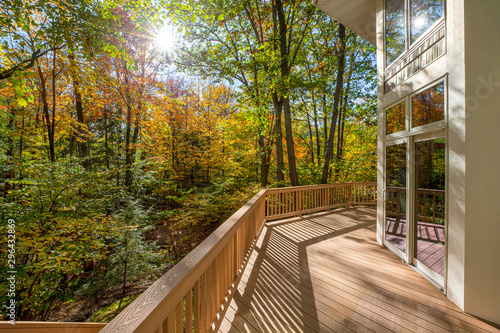 Fototapeta Large Deck on Home in the Woods obraz