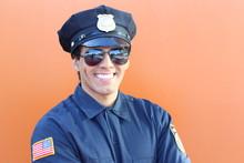 American Cop In Orange Background