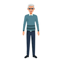 Old Man Standing Cartoon Icon