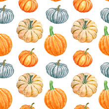 Pumpkins Seamless Pattern. Watercolor Hand Painted Autumn Vegetables On White Background. Winter Squashes And Gourd Botanical Print For Design, Textile, Halloween Cards, Wrapping Paper.