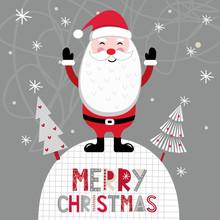 Christmas Card With Cute Santa...