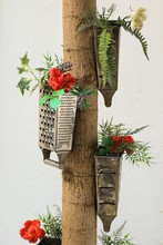 Upcycled Cheese Graters As Hanging Flower Pots