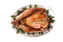 Roast Turkey Isolated On White Background, Shallow Focus