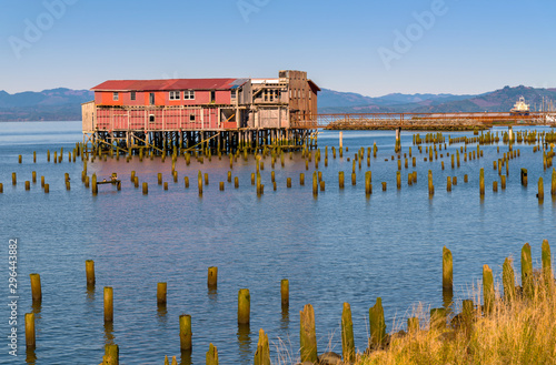 Old fish cleaning station in Astoria Oregon. Canvas Print