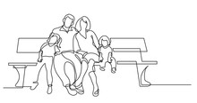 Continuous Line Drawing Of Family Of Four Sitting On Park Bench