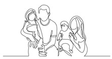 Continuous Line Drawing Of Family Of Four Holding Their Children