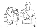 Continuous Line Drawing Of Family Of Four Walking Holding Their Children On Hands
