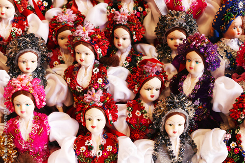 Obraz na plátne Colorful dolls with traditional costumes